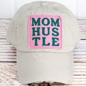 Distressed 'Mom Hustle' Cap